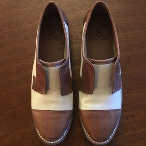 Lucky Brand loafers, leather & canvas, never worn.